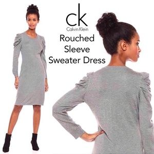 Calvin Klein Rouched Sleeve Sweater Dress
